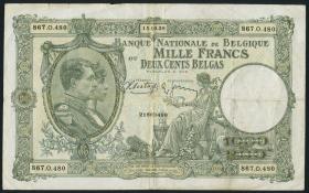 Belgien / Belgium P.104 1000 Francs = 200 Belgas 1938 (3)
