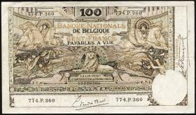 Belgien / Belgium P.078 100 Francs 1914-1920 (3+)