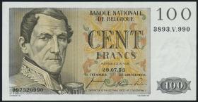Belgien / Belgium P.129b 100 Francs 1953 (2+)