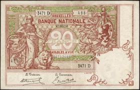 Belgien / Belgium P.067 20 Francs 1919 (3+)
