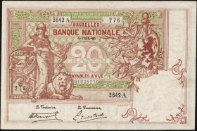 Belgien / Belgium P.067 20 Francs 1920 (3+)