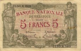 Belgien / Belgium P.075b 5 Francs 1921 (3)