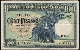 Belgisch-Kongo / Belgian Congo P.17a 100 Francs 1944 (3)
