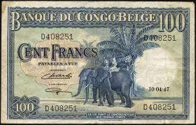 Belgisch-Kongo / Belgian Congo P.17d 100 Francs 1947 (3)