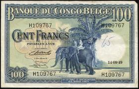 Belgisch-Kongo / Belgian Congo P.17d 100 Francs 1949 (3)