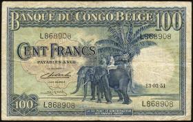 Belgisch-Kongo / Belgian Congo P.17d 100 Francs 1951 (3-)