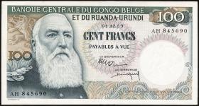 Belgisch-Kongo / Belgian Congo P.33b 100 Francs 1959 (2+)