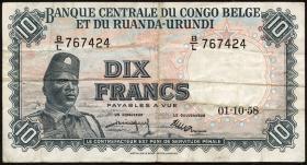 Belgisch-Kongo / Belgian Congo P.30b 10 Francs 1958 (3)