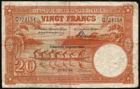 Belgisch-Kongo / Belgian Congo P.15D 20 Francs 1944 (4)