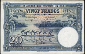 Belgisch-Kongo / Belgian Congo P.15E 20 Francs 1946 (1/1-)