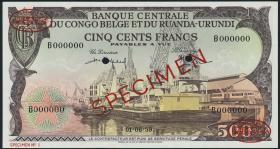 Belgisch-Kongo / Belgian Congo P.34s 500 Francs 1957 Specimen (1/1-)