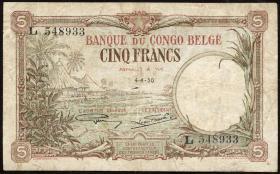 Belgisch-Kongo / Belgian Congo P.08e 5 Francs 1930 (4)