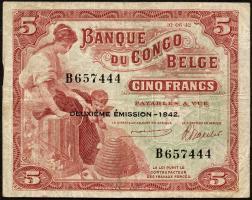Belgisch-Kongo / Belgian Congo P.13 5 Francs 1942 (3)