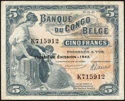 Belgisch-Kongo / Belgian Congo P.13Aa 5 Francs 1942 3. Emission (3+)