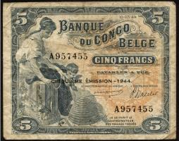 Belgisch-Kongo / Belgian Congo P.13Ab 5 Francs 1943 4. Emission (3-)