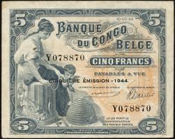 Belgisch-Kongo / Belgian Congo P.13Ac 5 Francs 1944 5. Emission (3+)
