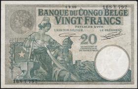 Belgisch-Kongo / Belgian Congo P.10f 20 Francs 1929 (3)