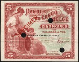 Belgisch-Kongo / Belgian Congo P.13 5 Francs 1942 Specimen (2+)
