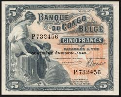 Belgisch-Kongo / Belgian Congo P.13Ab 5 Francs 1942 4. Emission (1/1-)