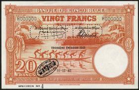 Belgisch-Kongo / Belgian Congo P.15Bs 20 Francs 10.12.1942 Specimen (1)
