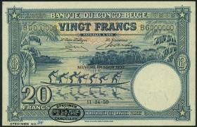 Belgisch-Kongo / Belgian Congo P.15Hs 20 Francs 1950 Specimen (1)