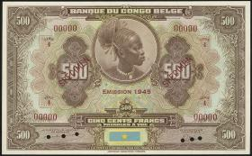 Belgisch-Kongo / Belgian Congo P.18Acs 500 Francs 1945 Specimen (1)