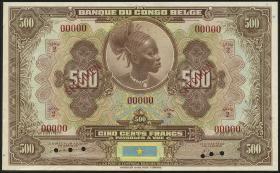 Belgisch-Kongo / Belgian Congo P.18As 500 Francs (1941) Specimen (1)