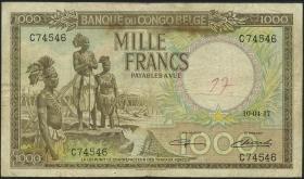 Belgisch-Kongo / Belgian Congo P.19b 1000 Francs 1947 (3-)