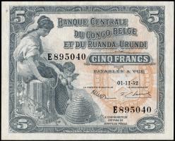 Belgisch-Kongo / Belgian Congo P.21 5 Francs 1952 (1/1-)