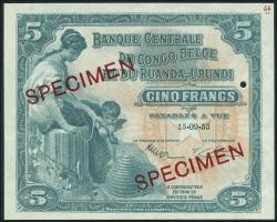 Belgisch-Kongo / Belgian Congo P.21s 5 Francs 1958 Specimen (1)