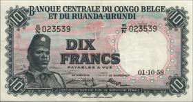 Belgisch-Kongo / Belgian Congo P.30b 10 Francs 1.10.1958 (3+)