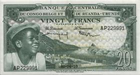 Belgisch-Kongo / Belgian Congo P.31 20 Francs 1.6.1959 (2)