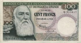 Belgisch-Kongo / Belgian Congo P.33b 100 Francs 1.8.1956 (3+)