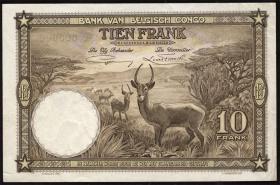 Belgisch-Kongo / Belgian Congo P.09s 10 Francs 10.9.1937 (1-)