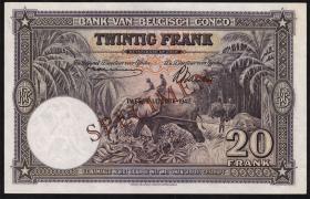 Belgisch-Kongo / Belgian Congo P.15As 20 Francs 10.3.1942 (1)