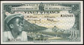 Belgisch-Kongo / Belgian Congo P.31 20 Francs 1957 (1/1-)