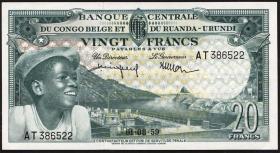 Belgisch-Kongo / Belgian Congo P.31 20 Francs 01.8.1959 (1)