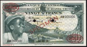 Belgisch-Kongo / Belgian Congo P.31S 20 Francs 1959 Specimen (1-)