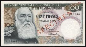 Belgisch-Kongo / Belgian Congo P.33as 100 Francs (1955-56) (1)