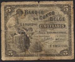 Belgisch-Kongo / Belgian Congo P.04 5 Francs 02.04.1921 Elisabethville (6)