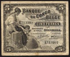 Belgisch-Kongo / Belgian Congo P.04A 5 Francs 03.03.1920 Kinshasa (3)