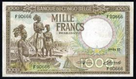 Belgisch-Kongo / Belgian Congo P.19b 1000 Francs 10.4.1947 (3)