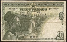 Belgisch-Kongo / Belgian Congo P.26 20 Francs 14.4.1954 (3)
