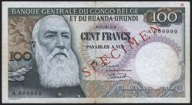Belgisch-Kongo / Belgian Congo P.33as 100 Francs (1955-56) Specimen (3)