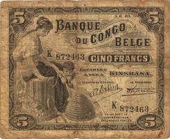 Belgisch-Kongo / Belgian Congo P.04A 5 Francs 03.06.1921 Kinshasa (4)