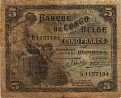 Belgisch-Kongo / Belgian Congo P.04A 5 Francs 03.04.1921 Kinshasa (4)