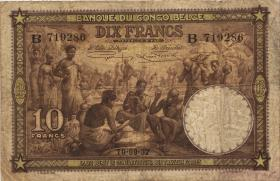 Belgisch-Kongo / Belgian Congo P.09 10 Francs 1937 (4)