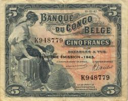 Belgisch-Kongo / Belgian Congo P.13Aa 5 Francs 1942 3. Emission (3)