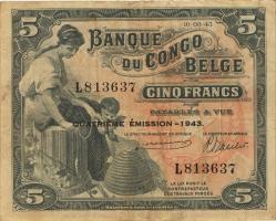 Belgisch-Kongo / Belgian Congo P.13Ab 5 Francs 1943 4. Emission (3)