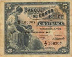 Belgisch-Kongo / Belgian Congo P.13Ad 5 Francs 1947 6. Emission (3)